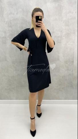 V Yaka Kaşkorse Elbise - Siyah