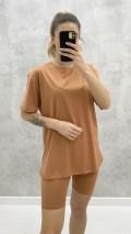 Tayt - Tshirt Takım - Tarçın