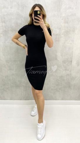 Fitilli Kaşkorse Elbise - Siyah