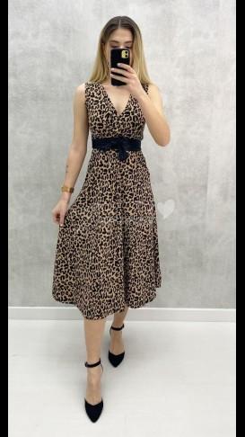 Kuşaklı Kolsuz Elbise - Leopar