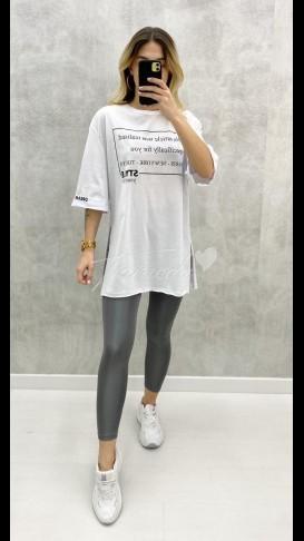 Oversize Yazılı Tshirt - Beyaz