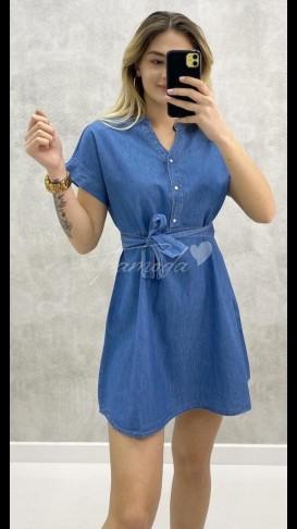 Kuşaklı Mini Jean Elbise
