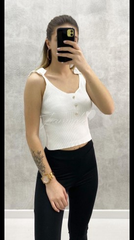 Askılı Taş Detay Triko - Beyaz