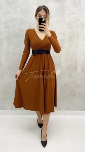 Uzun Kol Kuşaklı Elbise - Taba
