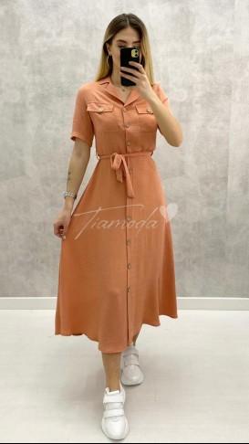 Cepli Gömlek Elbise - Somon