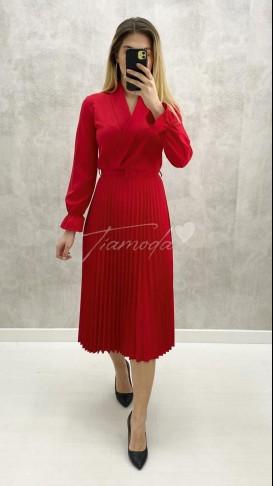 Kruvaze Pileli Elbise - Kırmızı