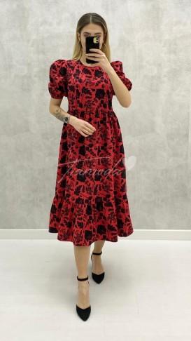 Kolu Lastikli Elbise - Kırmızı