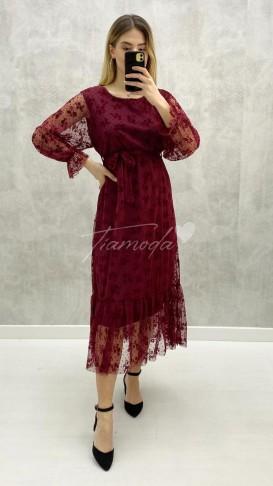 Kabartma Baskı Şifon Elbise - Bordo