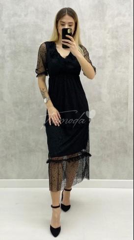 Kısa Kol Şifon Elbise - Siyah