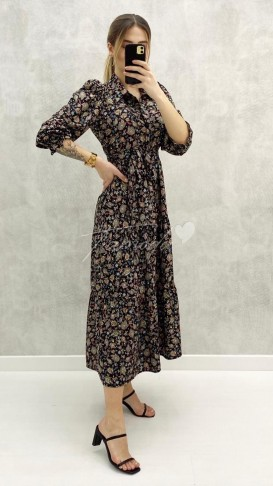 Kolu Gipeli Elbise - Siyah
