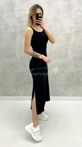 Çift Yırtmaçlı Basic Elbise - Siyah