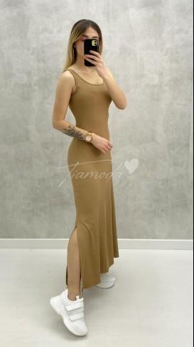 Çift Yırtmaçlı Basic Elbise - Bej