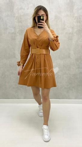 Bileği Fiyonklu Kemerli Elbise - Taba