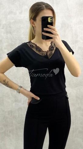 Dantel Yaka Tshirt - Siyah
