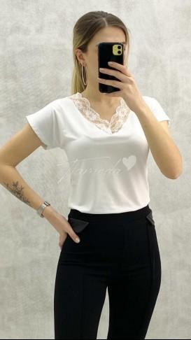 Dantel Yaka Tshirt - Beyaz