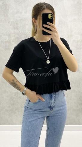 Eteği Fırfırlı Tshirt - Siyah