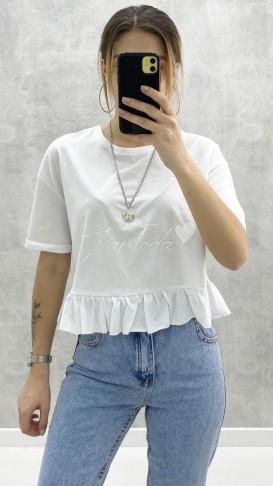 Eteği Fırfırlı Tshirt - Beyaz