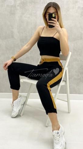 Hardal Şeritli Havuç Pantolon