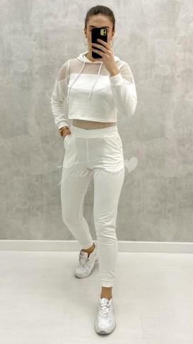 Fileli Eşofman Takımı - Beyaz