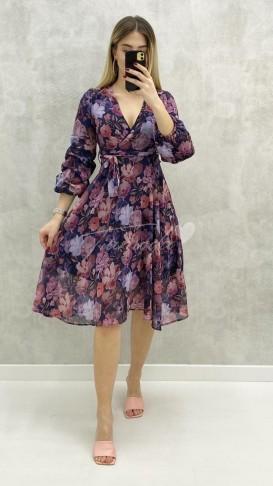 Kolu Büzgü Çiçekli Elbise - Mor