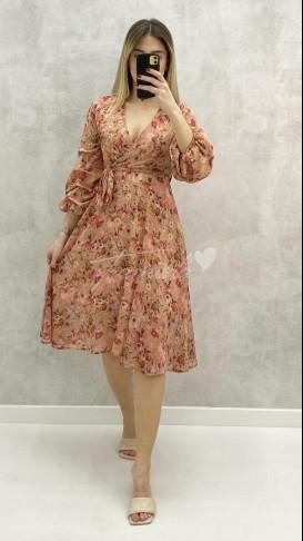 Kolu Büzgü Çiçekli Elbise - Pudra
