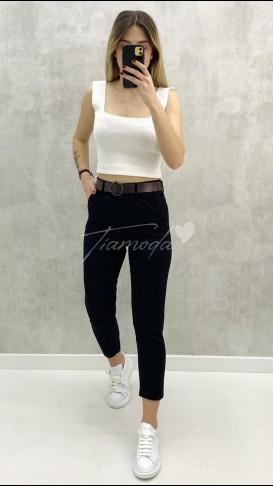Kemerli Slim Pantolon - Siyah