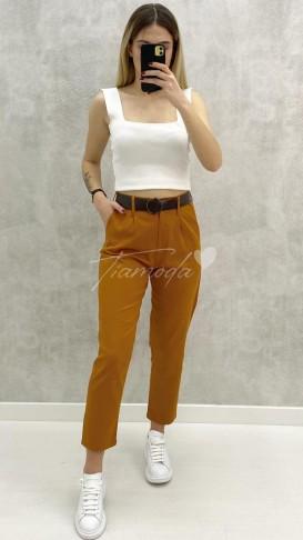 Kemerli Slim Pantolon - Taba