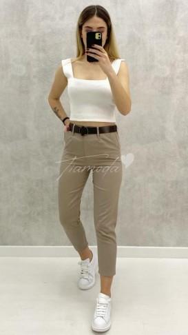 Kemerli Slim Pantolon - Bej