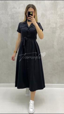 Kısa Kol Pileli Elbise - Siyah