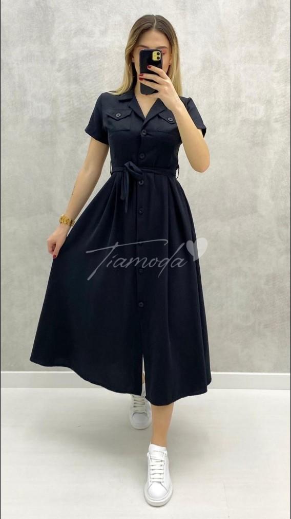 Kısa Kol Piliseli Elbise - Siyah