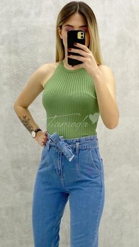Halter Yaka Fitilli Bluz - Yeşil