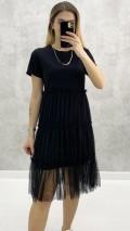 Tül Etekli Penye Elbise