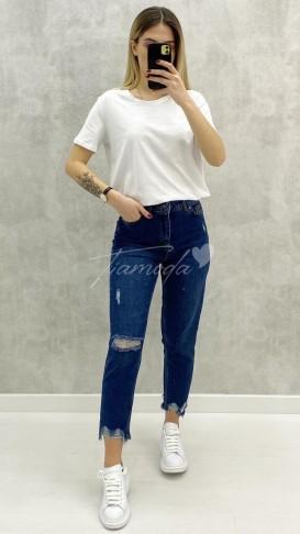 Paça Detaylı Slim Mom Jean