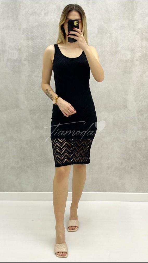 Askılı Dantel Elbise - Siyah