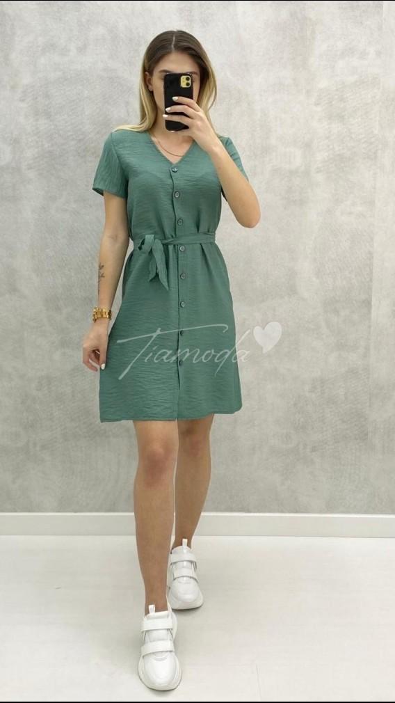 Bodrum Kumaş Düğmeli Elbise - Mint