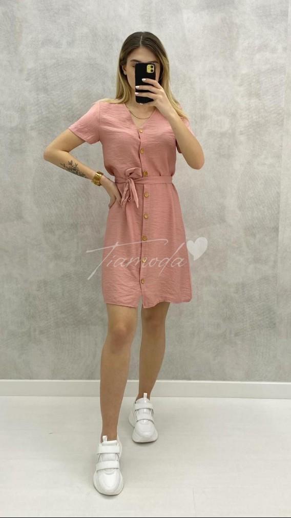 Bodrum Kumaş Düğmeli Elbise - Pudra