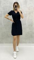 Bodrum Kumaş Düğmeli Elbise - Siyah
