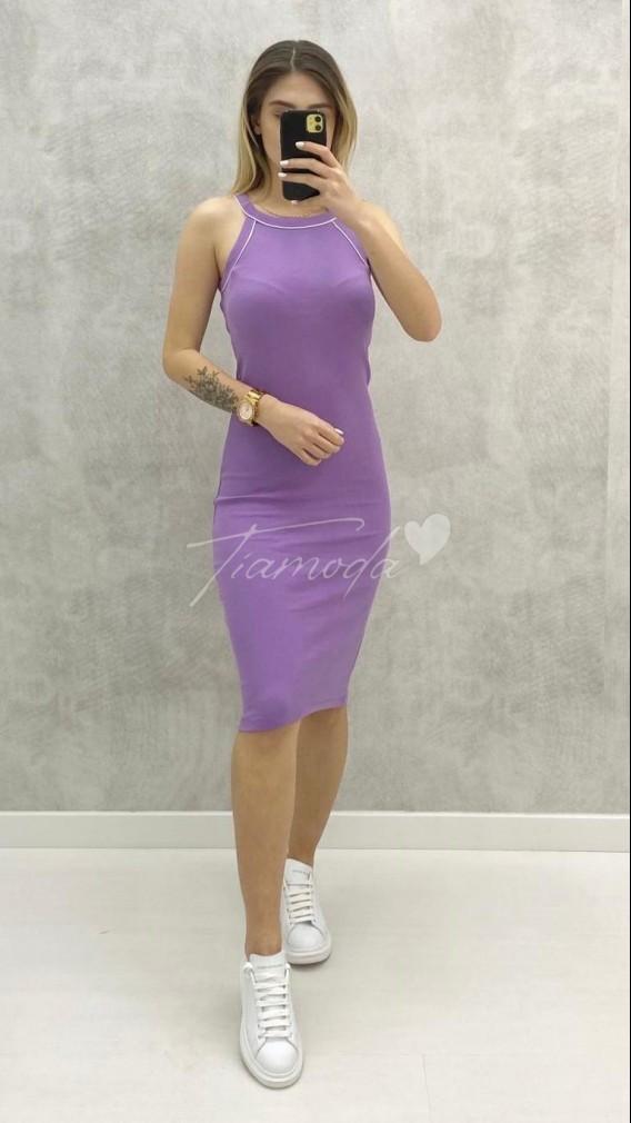 Halter Yaka Toparlayıcı Elbise - Lila