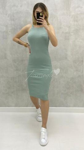 Halter Yaka Toparlayıcı Elbise - Mint