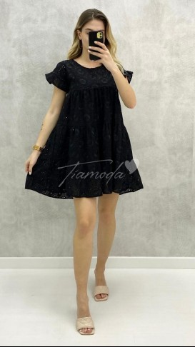 Fistolu Mini Elbise - Siyah