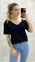 Tek Omuz Dantel Detay Tshirt - Siyah