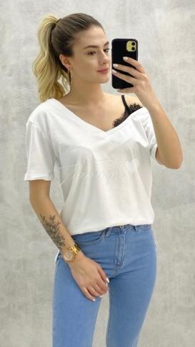 Tek Omuz Dantel Detay Tshirt - Beyaz