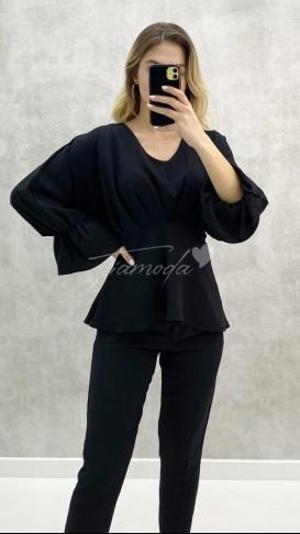 Volanlı Bluz - Siyah