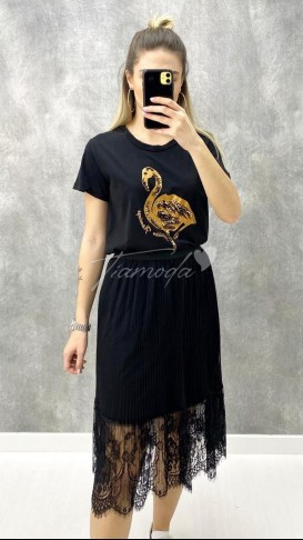 Taş İşleme Flamingo Tshirt - Siyah