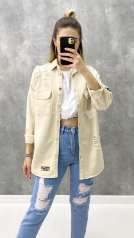 Yırtık Detay Denim Ceket - Krem