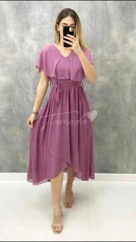 Pelerin Yaka Şifon Elbise - Lila
