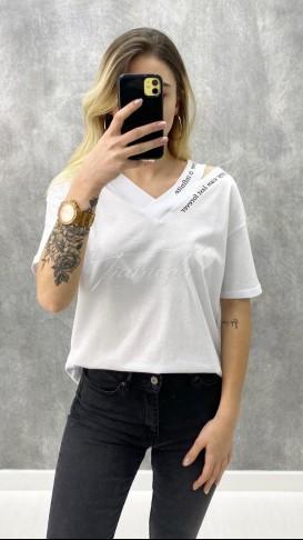 Omuz Detay V Yaka Tshirt - Beyaz