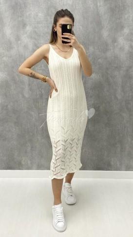 Ajurlu Elbise - Beyaz