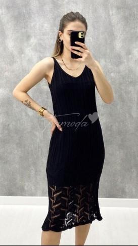 Ajurlu Elbise - Siyah