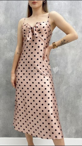 Puantiyeli Saten Elbise